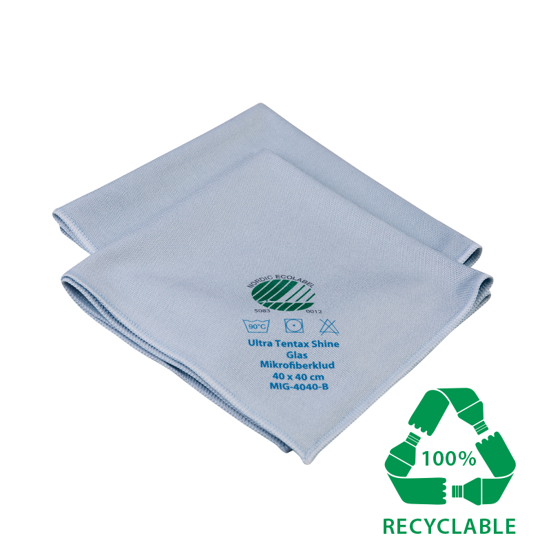 nordic swan ecolabelled cloth for glass, steel and mirrors. Removes 99% of bacteria.