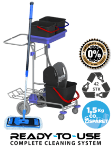 Sustainable cleaning trolley ready to use