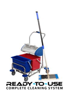 Small cleaning trolley for pocket mops