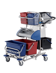 Large cleaning trolley with wringer