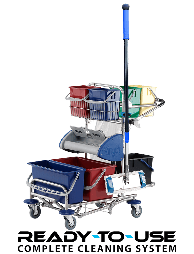 Small cleaning trolley with wringer