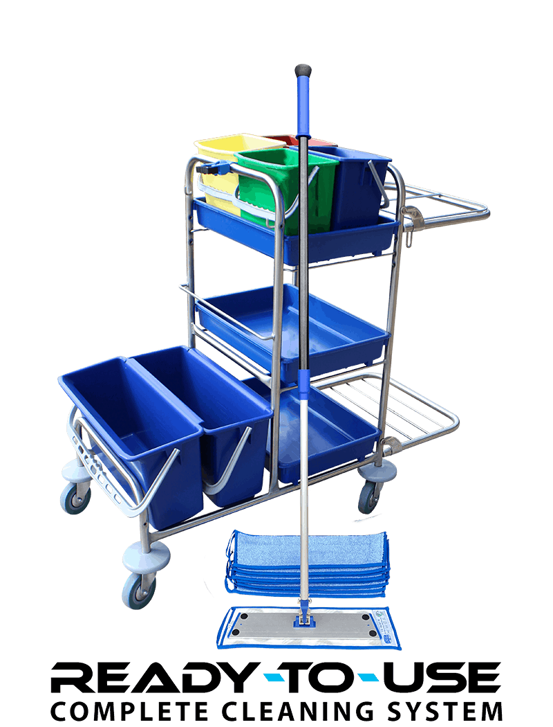 Cleaning trolley inclusive microfiber mops