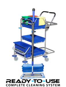 Handy cleaning trolley with velcro mops