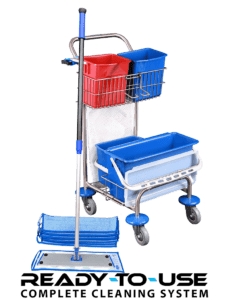Small cleaning trolley with microfiber mops