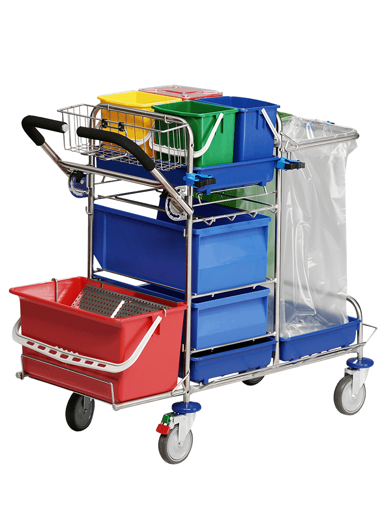 Compact cleaning trolley for pocket mops